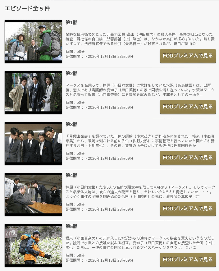 マークスの山 の動画を無料で見る裏ワザ(1話~4話 最終回)上川隆也 ...